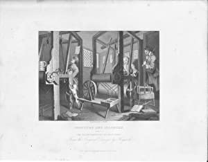 GRABADO - INDUSTRY AND IDLENESS. (Plate 1): The Fellow Prentices at Their Looms