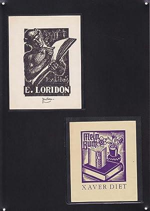 2 EX-LIBRIS DE: E. LORIDON y XAVER DIET