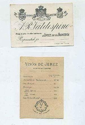 LISTA DE PRECIOS SIGLO XIX. A.R. VALDESPINO--JEREZ