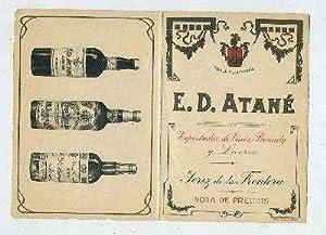LISTA DE PRECIOS SIGLO XIX. E.D. ATANÉ-JEREZ