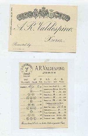 LISTA DE PRECIOS SIGLO XIX. A.R. VALDESPINO--XEREZ.