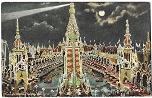 Coney Island.- Luna Park at night 1906 Illust.