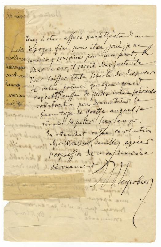 """Two autograph letters signed """"Meyerbeer"""" to the noted French librettist Michel Carr&..."""
