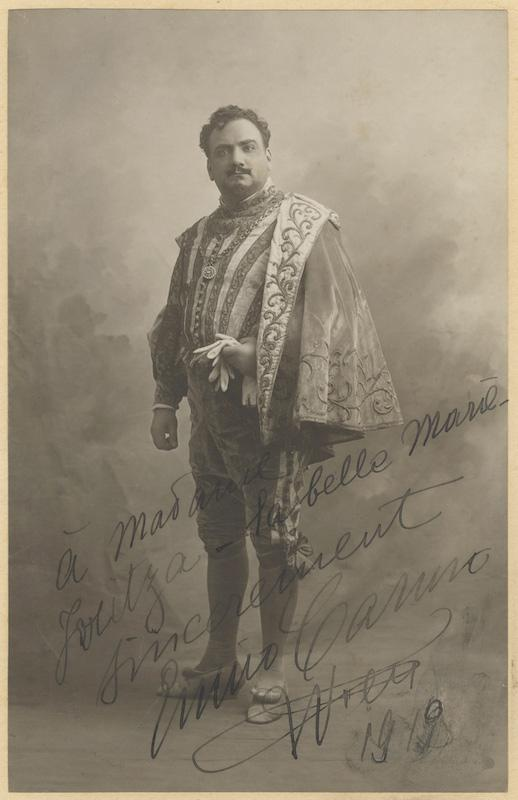 "Fine large original photograph signed ""Enrico Caruso"" and inscribed to the prominent ..."