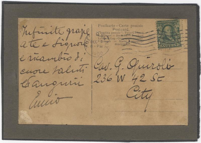 "Autograph note on a postcard signed ""Enrico"" to the singer, pedagague, and husband of the..."
