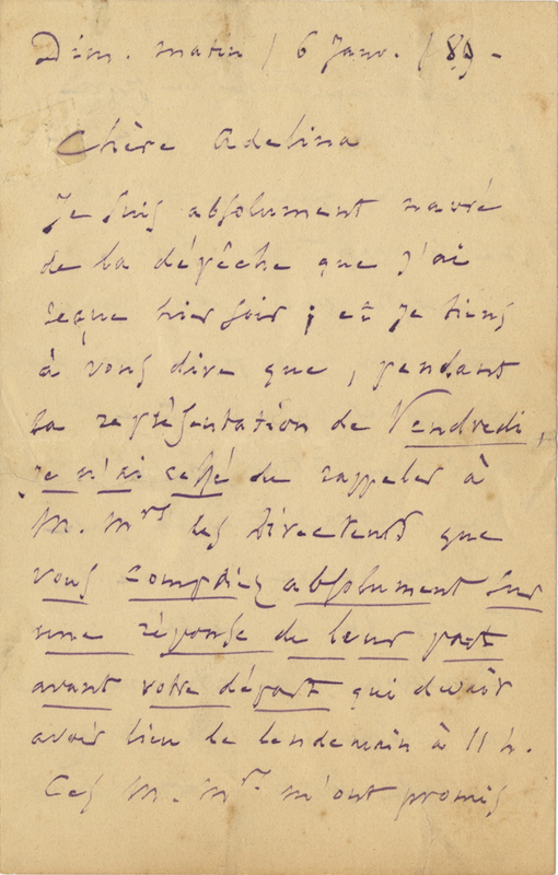 "Autograph letter signed ""Ch. Gounod"" to the: GOUNOD, Charles 1818-1893"