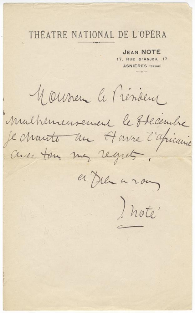 """Autograph letter signed """"""""J. Noté"""""""" to """"""""Monsieur le Président"""""""" NOTÉ, Jean 1859-1922"""