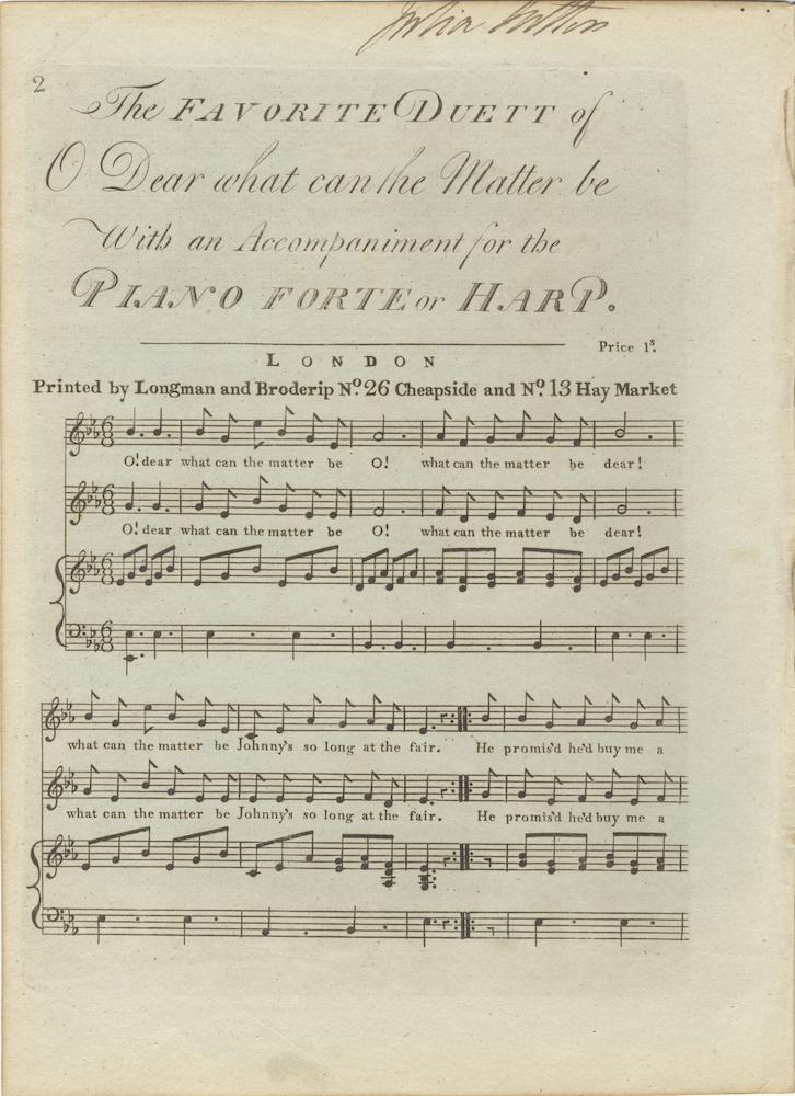 The Favorite Duett of O Dear what can the Matter be With an Accompaniment for the Piano Forte or ...