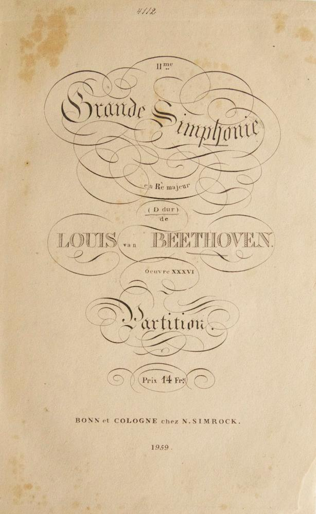 [Op. 36]. IIme. Grande Simphonie en Rè majeur (D dur). Oeuvre XXXVI Partition. Prix 14 Frs. ...