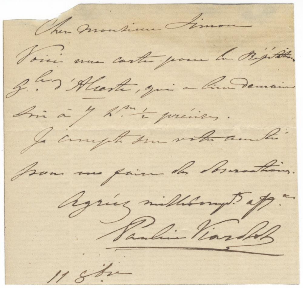 Autograph letter to [Jules] Simon, Prime Minister of France. Signed in full: VIARDOT, Pauline 1821-...