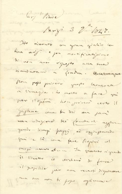 "Autograph letter signed ""G. Verdi"" to the: VERDI, Giuseppe 1813-1901"