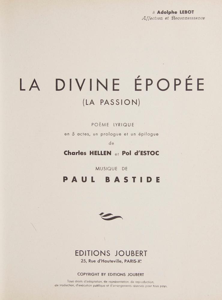 Vialibri La Divine épopée La Passion Poème Lyrique En 5
