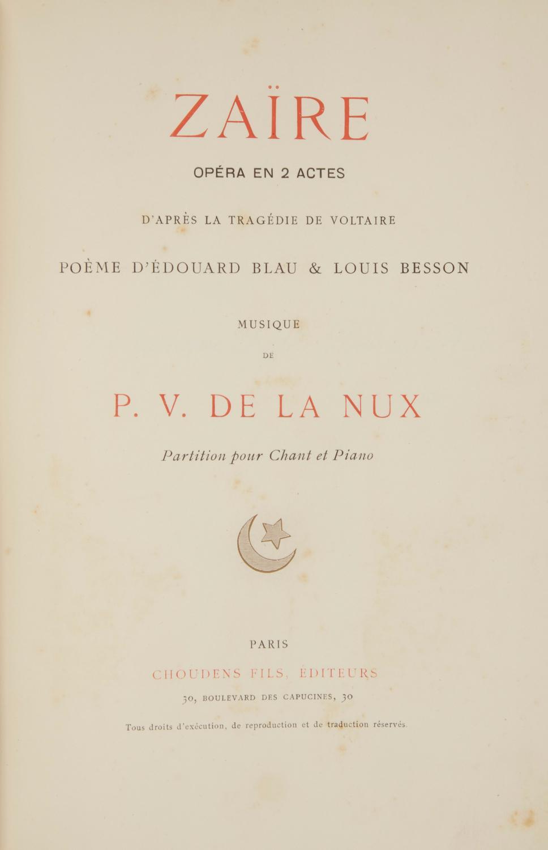 Zaïre Opéra En 2 Actes Daprès La Tragédie