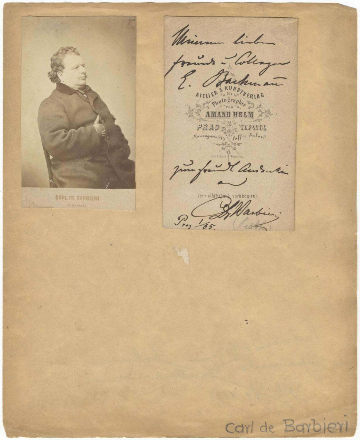 Original Carte De Visite Photograph Of The Italian Conductor BARBIERI Carlo Emanuele