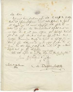 Autograph letter signed to music publisher Carl Friedrich Kistner in Leipzig: MENDELSSOHN, Felix ...