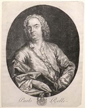 Mezzotint portrait of the librettist, half-length, seated at a table: HANDEL]. Rolli, Paolo Antonio...