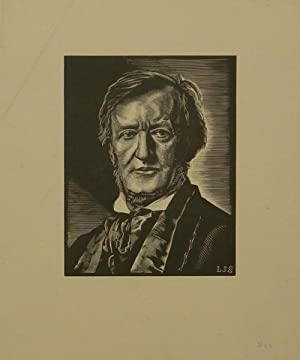 Portrait wood engraving by Louis Joseph Soulas (1905-1954): WAGNER, Richard 1813-1883