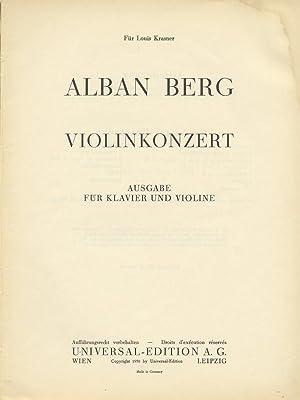 Violinkonzert Ausgabe für Klavier und Violine. [Piano reduction and solo violin part]: BERG, ...