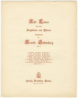 Op. 6, nos. 2-8]. Acht Lieder für eine Singstimme und Klavier. Op. 6 [Nos. 2-8, lacking no. 1]...