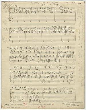 Sérénade [no. 1] pour Violon, Violoncelle et Piano. [Score]. Autograph musical manuscript signed in...