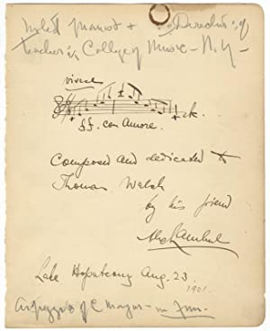 Autograph musical quotation signed and inscribed: LAMBERT, Alexander 1862-1929
