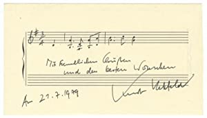 """Autograph musical quotation signed, dated July 21, 1979, and inscribed """"Mit freundlichen Gr&..."""
