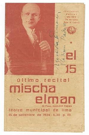 "Vintage concert program signed ""Misha Elman"": ELMAN, Mischa 1891-1967"
