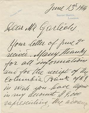 Autograph letter signed in full to Mr. Frank Garlichs, treasurer of the Metropolitan Opera: CARUSO,...