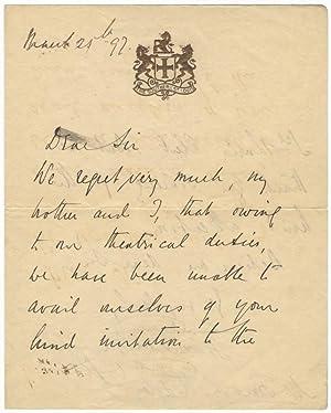 Autograph letter signed in full to Frank L. Ridgely: DE RESZKE, Jean 1850-1925