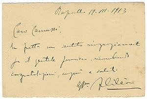 """Autograph letter signed """"F Cilea"""" to composer [Ezio] Camussi dated Rapallo, July, 19, ..."""