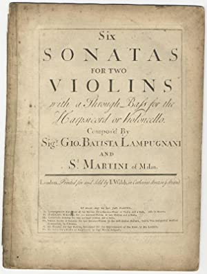 Op. 1]. Six Sonatas for two Violins: LAMPUGNANI, Giovanni Battista