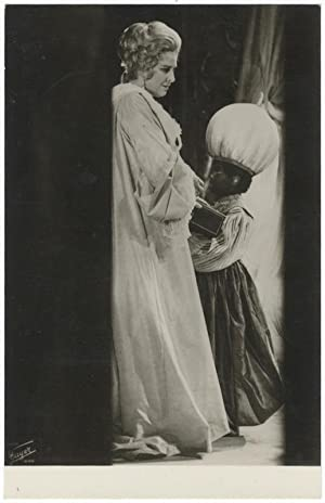 Full-length role portrait photograph of the soprano as the Marschallin with a young blackamoor in ...