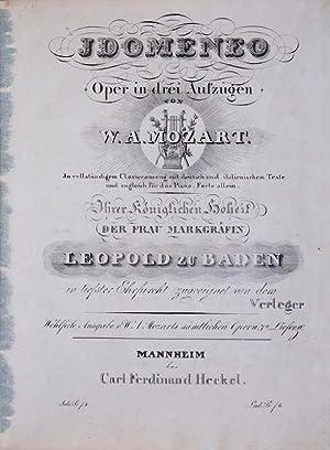 K 366]. Idomeneo Oper in drei Aufzügen. In vollständigen Clavierauszug mit deutsch- und ...