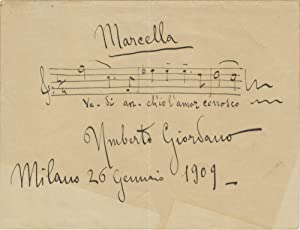 "Autograph musical quotation signed ""Umberto Giordano"": GIORDANO, Umberto 1867-1948"