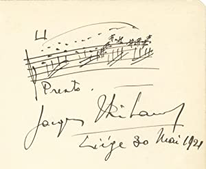 Autograph musical quotation signed in full: THIBAUD, Jacques 1880-1953
