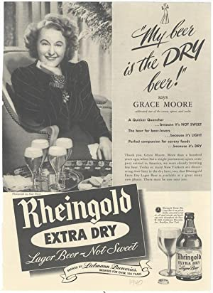 Advertisement for Rheingold Extra Dry Lager Beer: