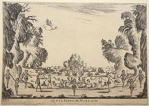 Quarta Scena di Mare from Le Nozze degli Dei. Etching by Stefano Della Bella after Alfonso Parigi: ...