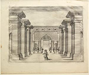 """L'Hipermestra. Engraving of Scene 1, Act 1, """"Cortile Regio,"""" by M. Bellonni after ..."""