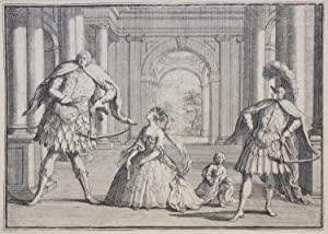 Fine satirical etching of performers in a contemporary production of Handel's Flavio at the ...