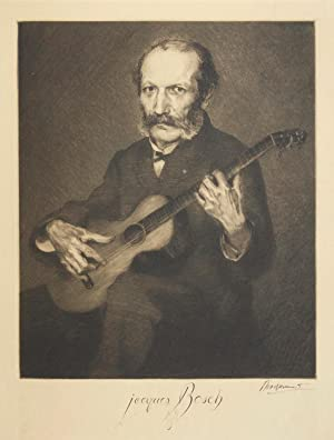 Fine large etching and drypoint of the guitarist, seated, by Félix Bracquemond (1833-1914)