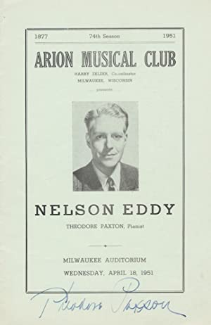 Signed program for a recital with noted American baritone (1901-1967), featuring works of Donizet...