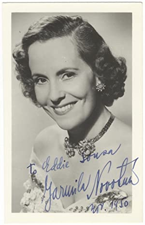 Bust-length postcard photograph signed in full, dated November, 1950, and inscribed to Eddie Sousa:...