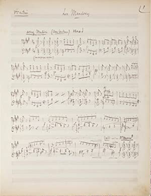 Cendrillon]. Les Mandores. Autograph musical manuscript, being: MASSENET, Jules 1842-1912