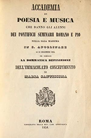 Accademia di Poesia e Musica che danno gli alunni dei Pontificii Seminarii Romano e Pio nella Sala ...