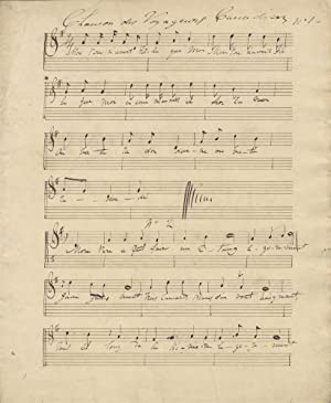 Five folksongs in French. Musical manuscript. Ca. 1840-50: ANON