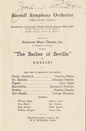 Signed program for a performance of Rossini's Barber of Seville with the Burrall Symphony Orchest...