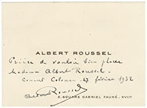 Visiting card with autograph note signed: ROUSSEL, Albert 1869-1937