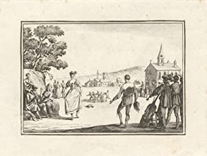 Etching of a 17th century couple dancing with a group of musicians performing in the right foregr...