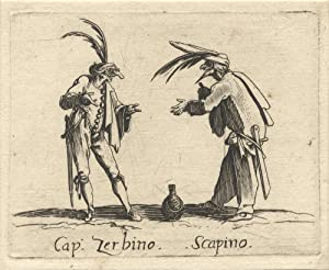 Captain Zerbino and Scapino. Etching depicting the two well-known Commedia dell'arte figures in a...