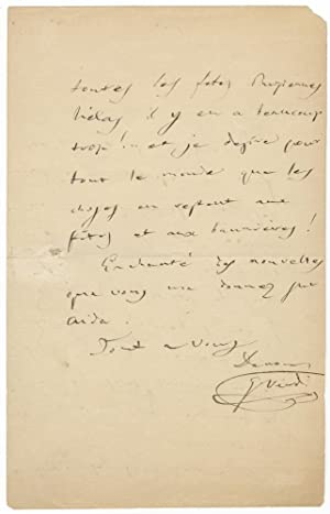 "Autograph letter signed ""G. Verdi"" to his accountant Luigi Peragallo: VERDI, Giuseppe ..."